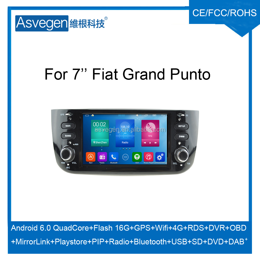 Wholesale Android Car DVD Player For 7'' Fiat Punto New GPS Support Buletooth Radio Wifi Playstore With Auto Spare Parts Car