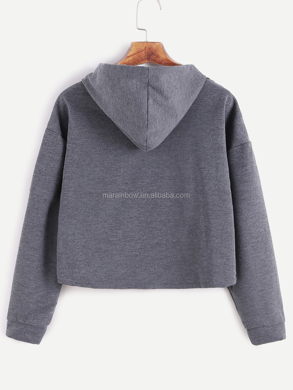 Dark Grey Loose Fit Womens Plain Cotton Crop Top Hoodie Drop ...