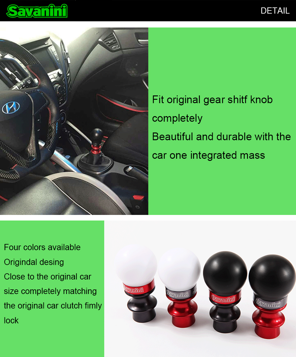 Savanini Car High-quality Aluminum alloy Gear Shift Knob with UPE For  Hyundai Veloster (2011-2014) MT, Cool style, View Gear shift knob, SAVANINI