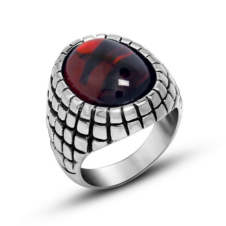 Punk Real Stainless Steel Ruby Rings For Men Big Red Black Natural Stone Finger Ring Men CZ Diamond Wedding Jewelry Accessories