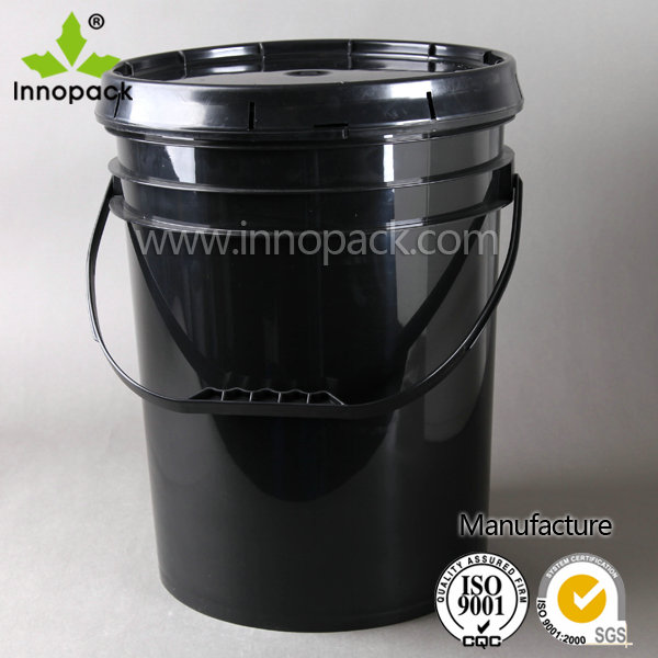 5 gallon virgin PP plastic black color paint pail with lid