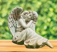 Design Peaceful Dream White Angel With Wings Sculpture Statue Polyresin Garden Decoration Resin