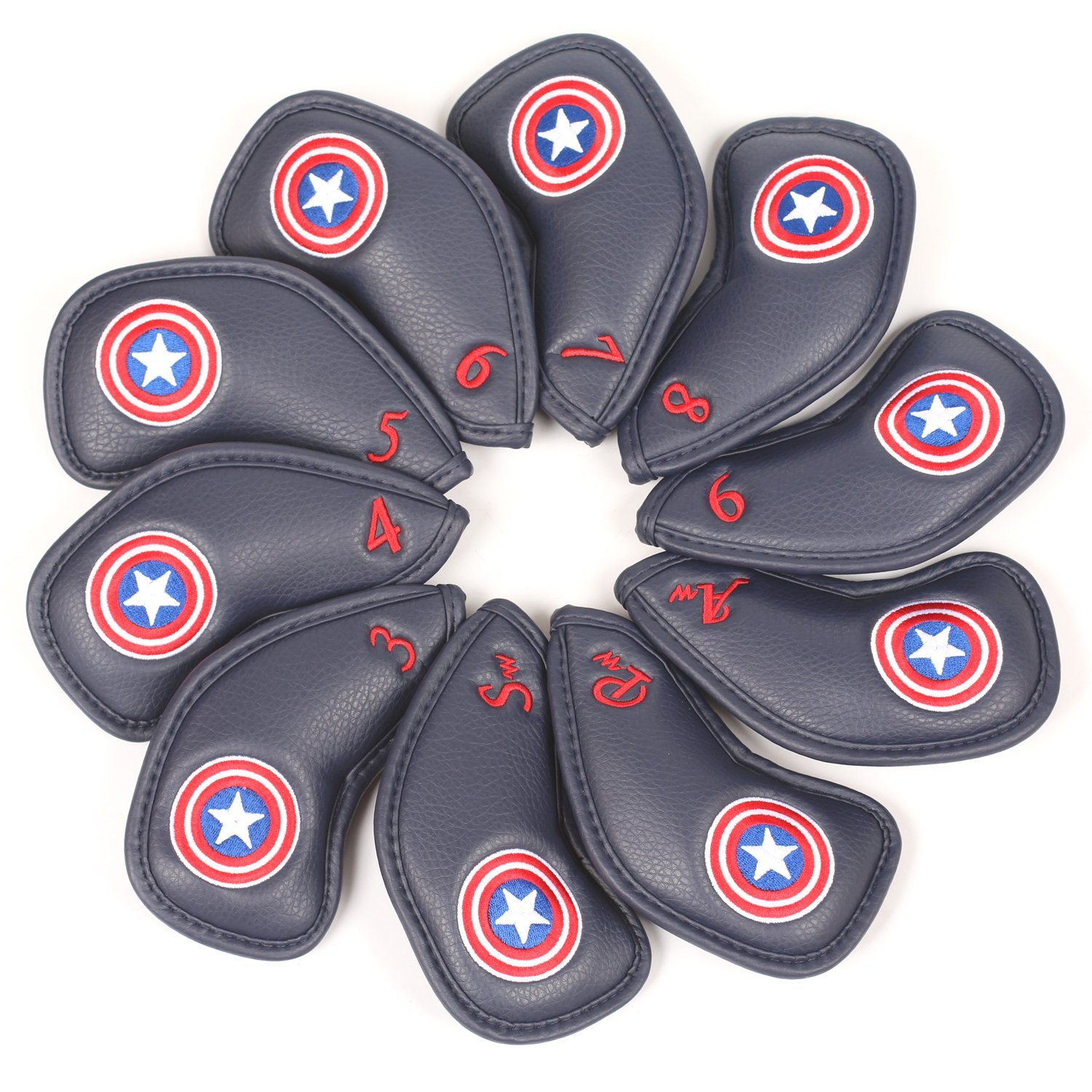 Volf Golf 10pcs Captain America Style Thick Synthetic Leather Golf Iron Head Covers Set Headcover Fit All Brands Titleist, Callaway, Ping, Taylormade, Cobra, Nike, Etc. …