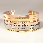Motivational Mantra Stacking Religious Inspire Letter Metal Engraved Inspirational Cuff Custom Bangle Stainless Steel Bracelet