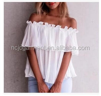 23ca7da4a1 Bulk Simplee Long sleeve chiffon blouse shirt women tops Boho off shoulder  crop top white Summer