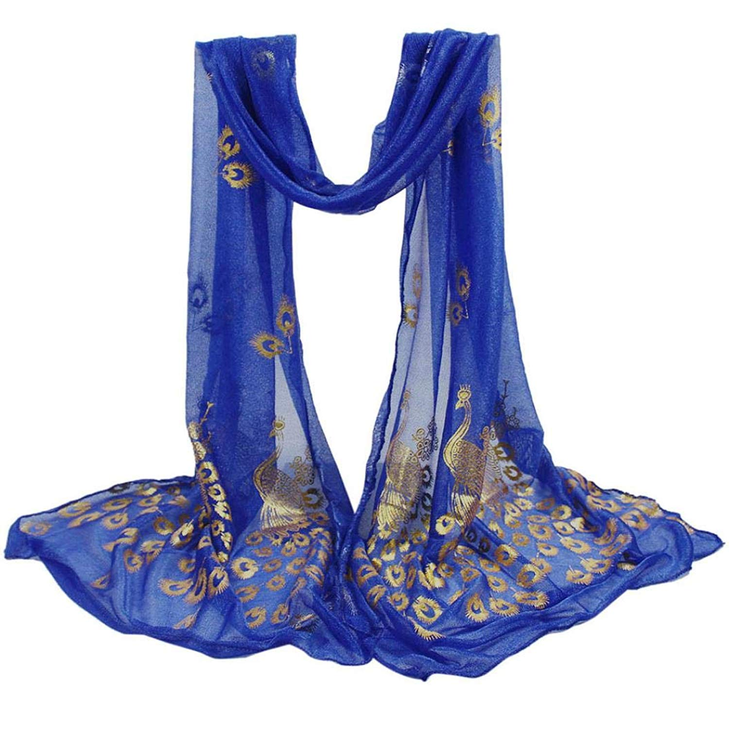 Fashion Scarvers, Shybuy Unique Women's Lightweight Sheer Scarves Ladies Peacock Printed Scarf
