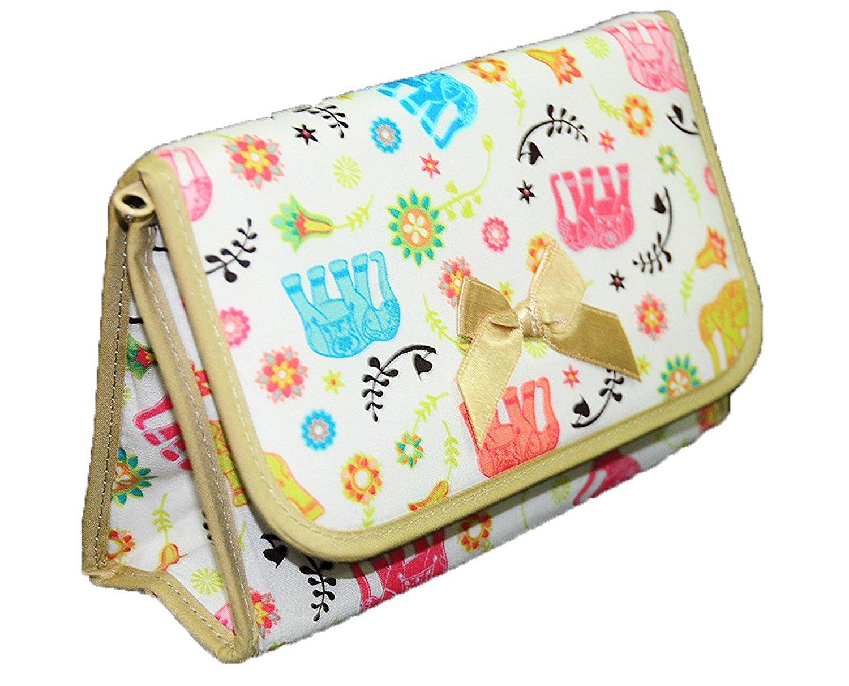 Get Quotations · NaRaYa Cosmetic Makeup Handbag Bag Case with Mirror Zip  Flap Handmade Cotton Satin Thai 6ad3bfe241d11