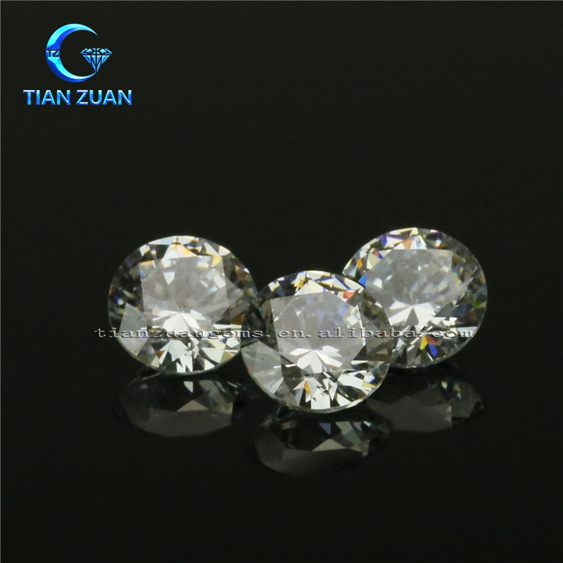 light yellow round shape factory machine cut crystal zirconia crystal loose stone