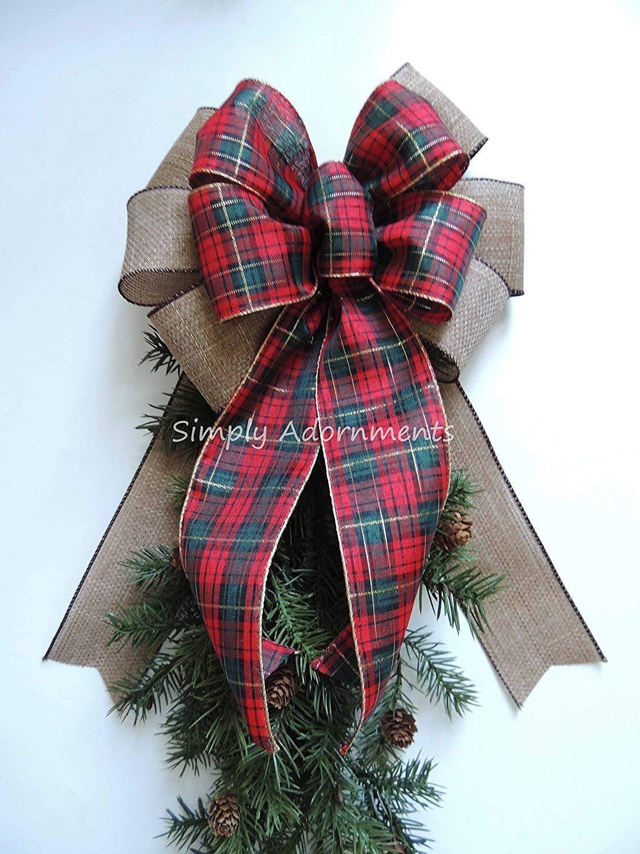 Tartan Woodland Christmas Bow Rustic Burlap Plaid Christmas Bow Red Green Tartan Christmas Wreath Bow Holiday Plaid Burlap Christmas Bow