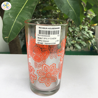 Glass cup new designs flowers of glass painting on surface