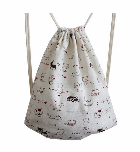 White Cute Cat Canvas Drawstring Bag Backpack Shopping Sack Bags ...