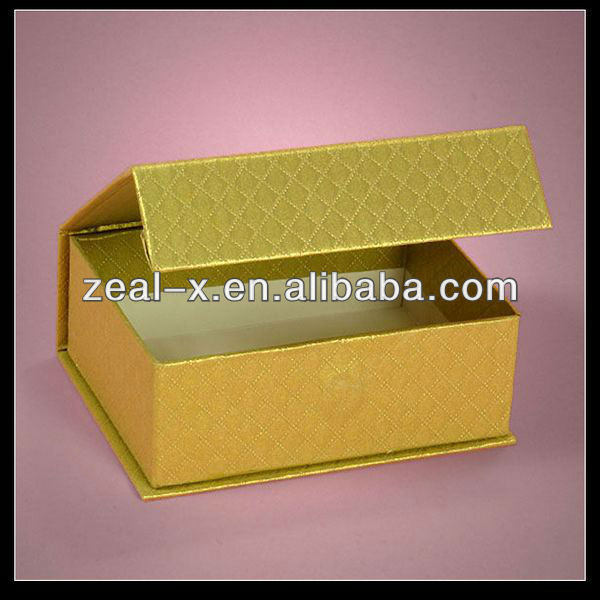 Golden Yellow Grid Texture Paper Gift Birthday Music Candles Boxes Magnetic Closure Factory
