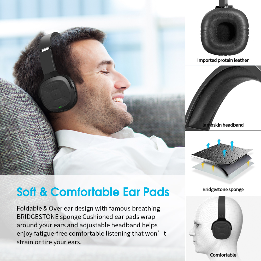 New Bee Factory OEM foldable Active Noise Cancelling Bluetooth Wireless Earphone Headphone