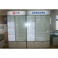 Wooden Shop Fitting Cell Phone Accessory Display Design Retail Store Furniture Mobile Display Showcase