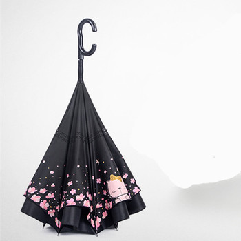 Custom New Design Folded Car C Type Handle Reverse An Cherry Inverted Umbrella