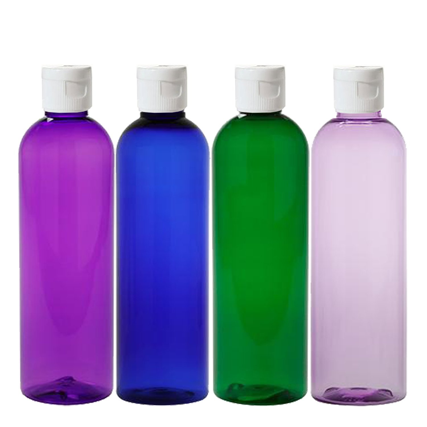 MoYo Natural Labs 4 oz Travel Bottles, Empty Travel Containers with Flip Caps, BPA Free PET Plastic Squeezable Toiletry/Cosmetic Bottles (Pack of 4, Psychedelic)
