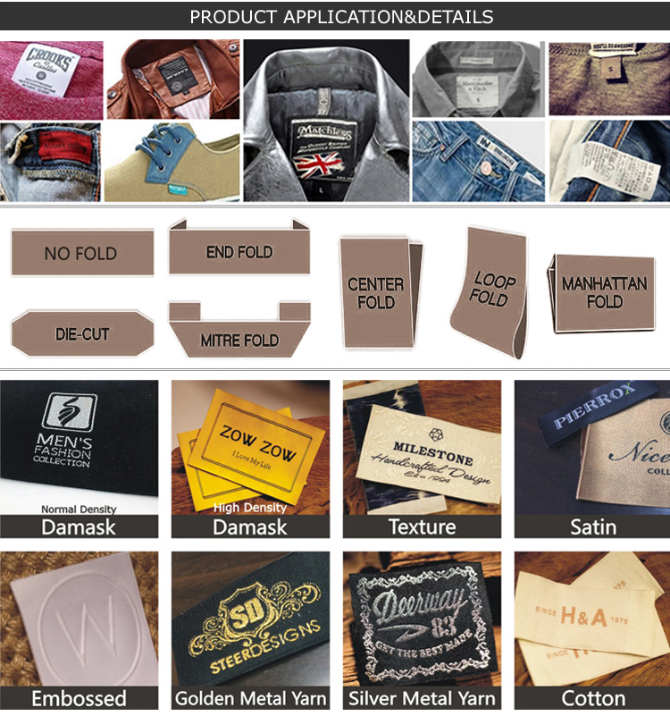 Customized Garment Brand Name Logo Woven Center Fold Label Tag For Clothing