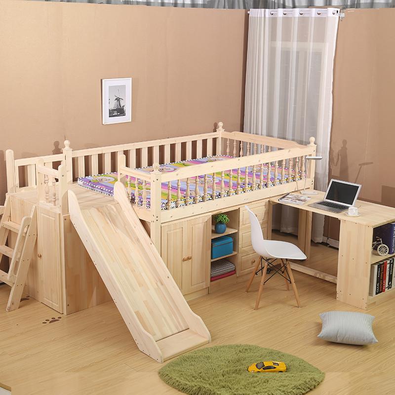 SC0331Kids niños muebles loft madera camas twin cama alta con ...