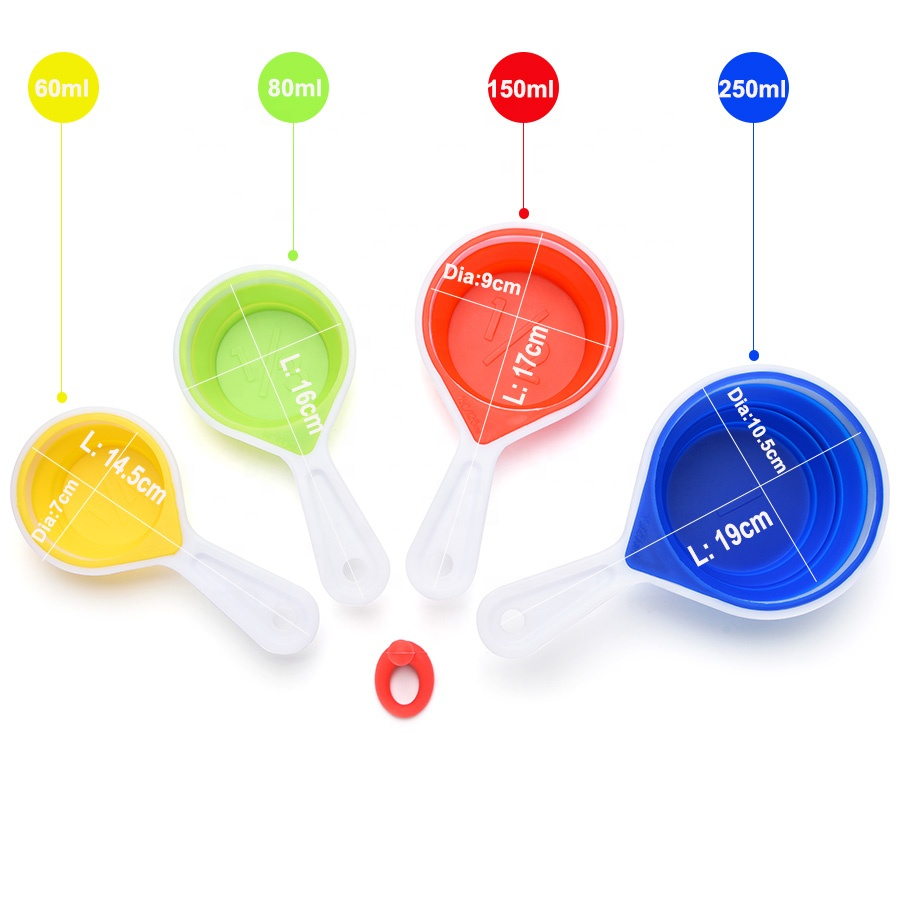 Amazon Best Selling 4pcs/set 4pcs 60ml, 80ml,150ml,250ml Foldable Silicone Measuring Cup