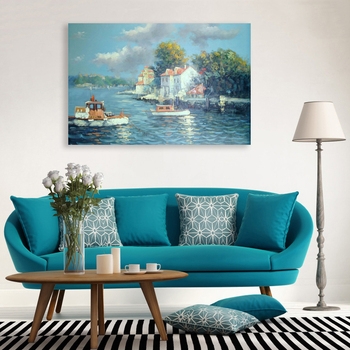 Modern Wall Art India Seaside City Boat Scenery Oil Painting With ...