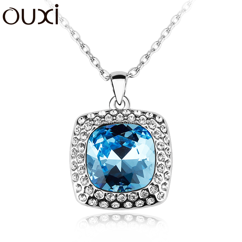 OUXI wholesale wedding jewelry square pendant made with crystal / gold & rhodium plated alloy necklace 10909