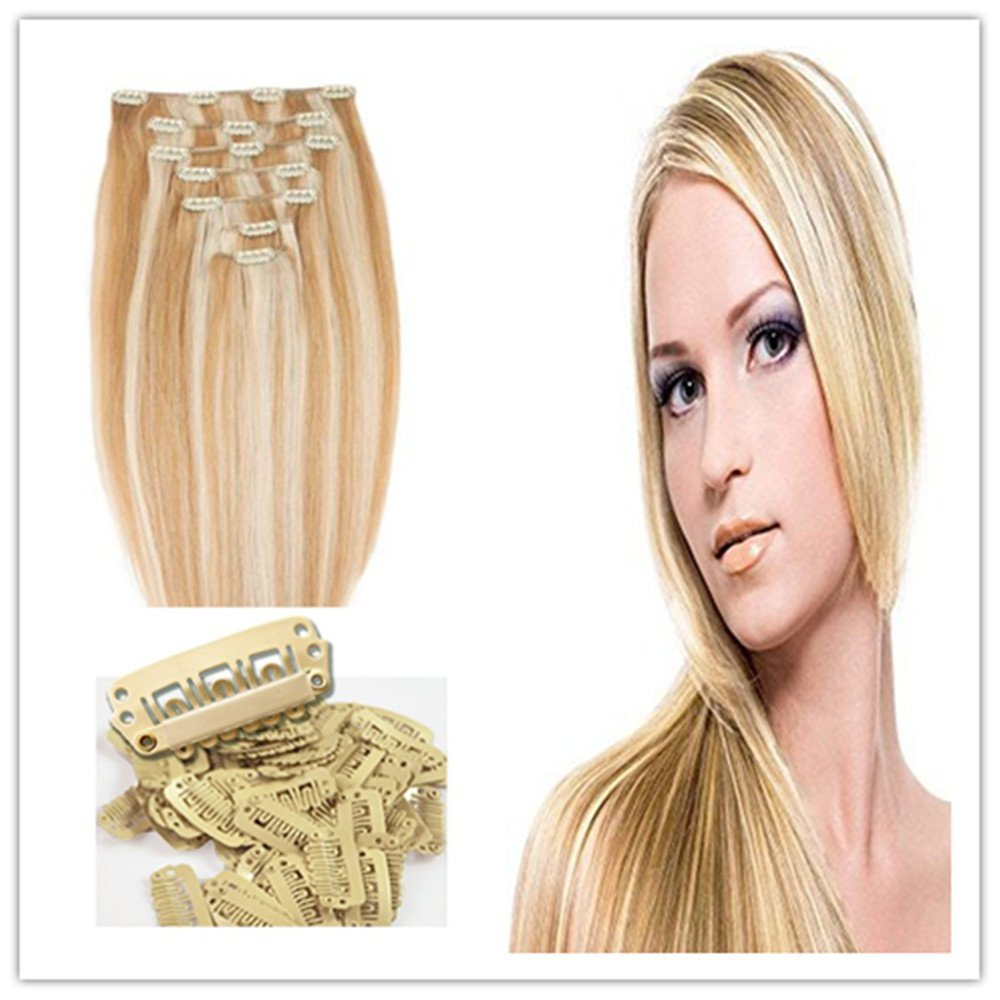Clip in Hair Extensions Multi-colored Blonde Silky Straight Hair Piece 7 Pcs for Women