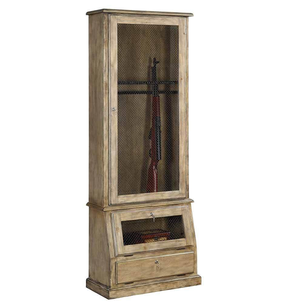 Get Quotations · 1PerfectChoice Russel Gun Storage Cabinet W/ Mesh Doors  Lock Keys Wood Color Ash Oak