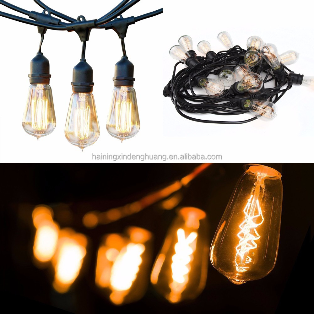 Custom Waterproof Vintage edison st64 temporary incandescent outdoor commercial decorative christmas string light