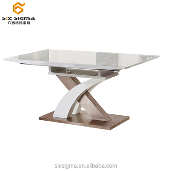 Modern Rectangular Wooden Mdf Extendable Gl Dining Table Designs