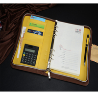 High quality business pu leather loose-leaf notebook with zipper a5 notebook leather with calculator