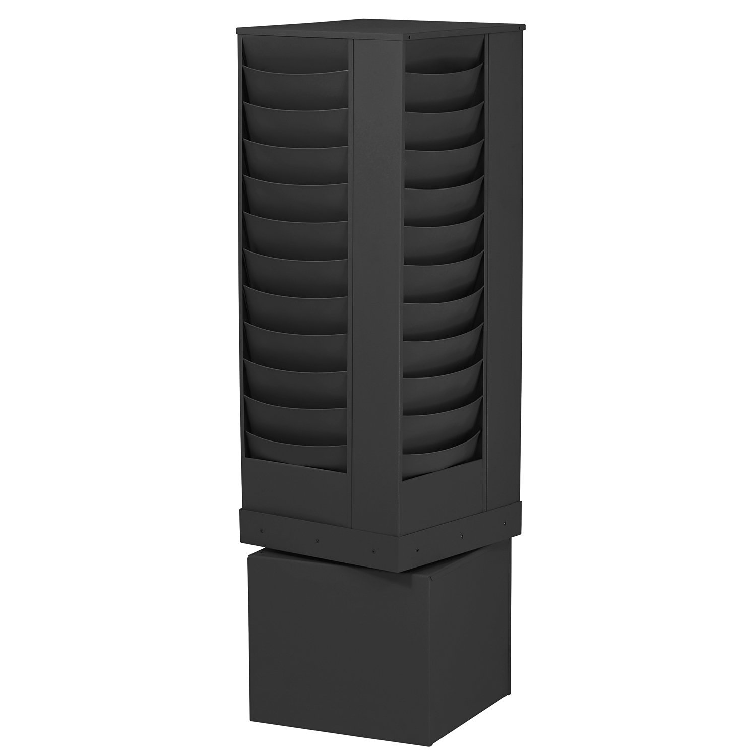Buddy Products 44-Pocket Curved Steel Rotating Display Rack, 13.75 x 49.75 x 13.75 Inches, Black (0865-4)