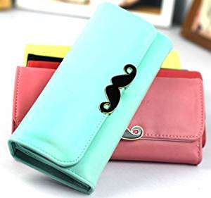 Big Mango Clutch Wallet with Inner Multiple Card Holders, Beautiful Moustache & Snap Button Closure for Apple Iphone 4 4s Iphone 5 Iphone 5s 5c Samsung Galaxy S4 S3 HTC Blackberry MP3 - Light Blue