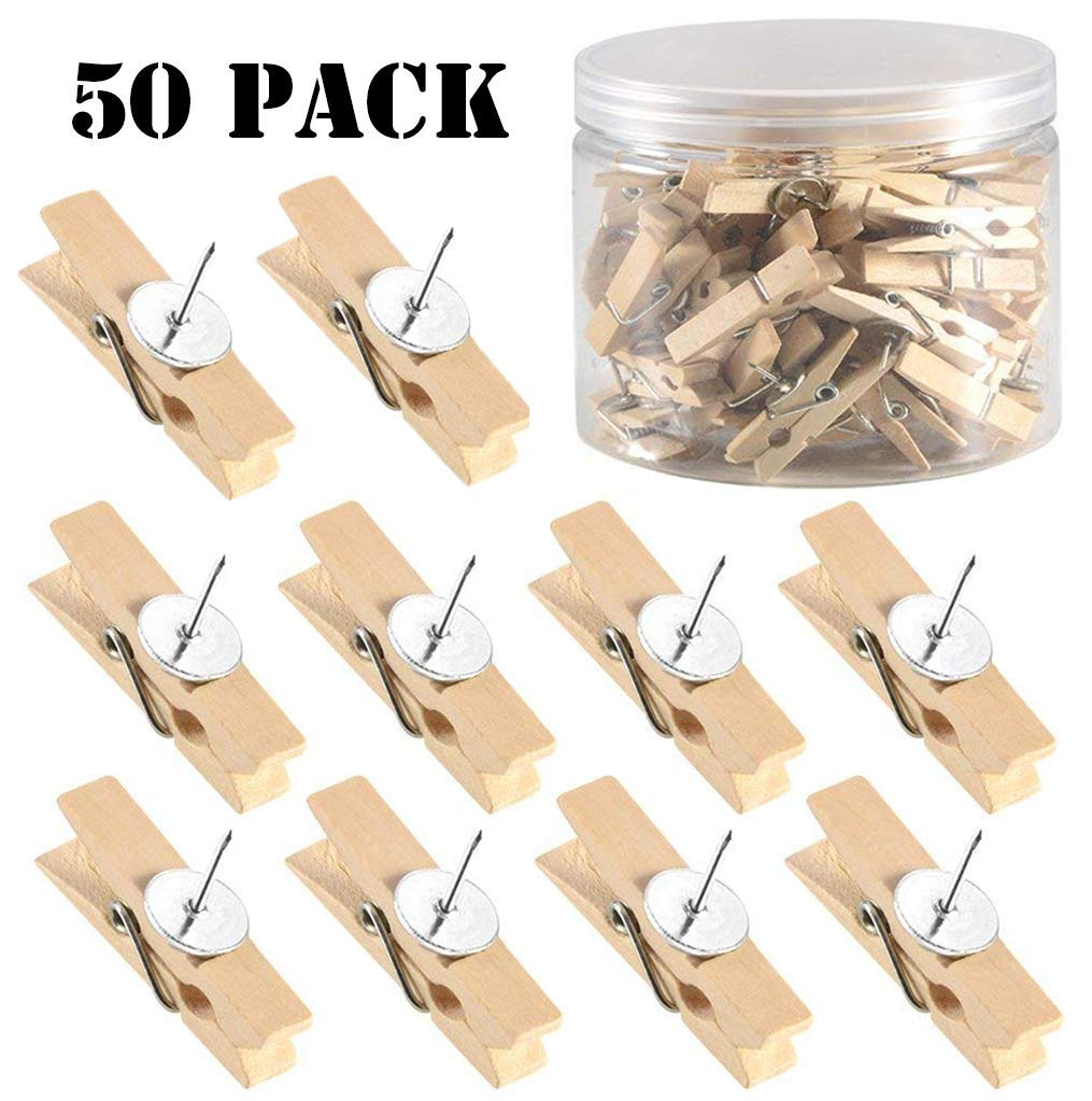 Push Pins with Natural Wooden Clips Pushpins Tacks Thumbtacks Creative Paper Clips with Pins for Cork Boards Artworks Notes Photos Wall and Craft Projects No Holes for The Paper (50 PCS Nature Color)