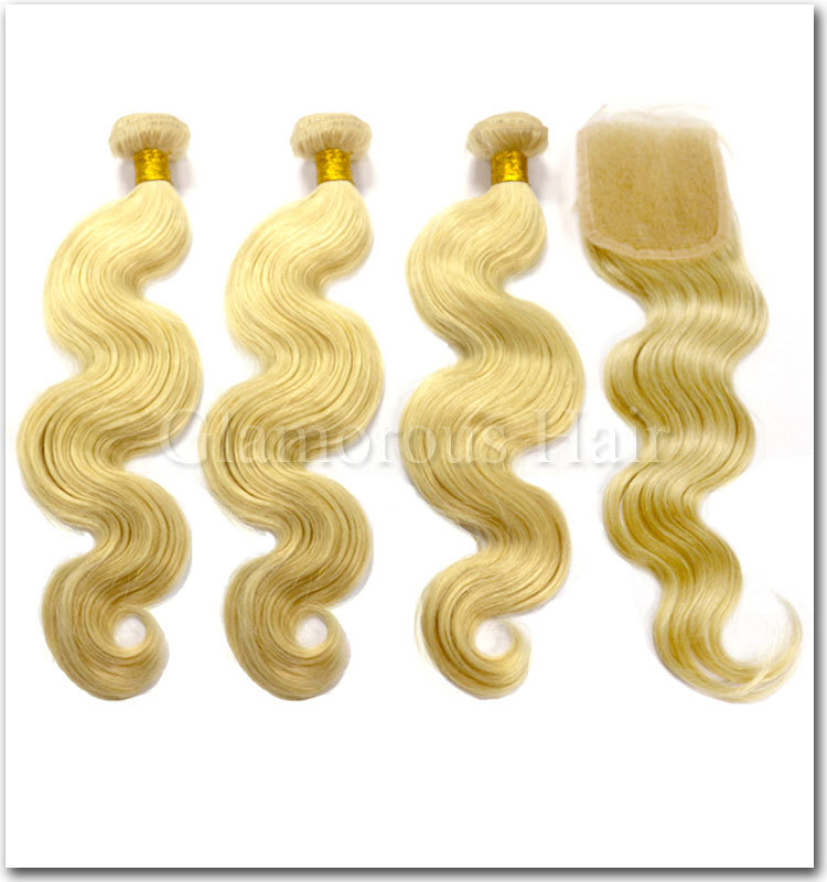 New arrival high quality #613 blonde color brazillian virgin hair bundles with lace closure