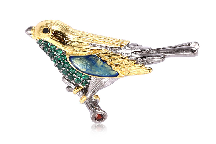 OEM 925 Sterling Silver Garnet And Spinel Animal Bird Silver Enamel Brooch Pin For Woman