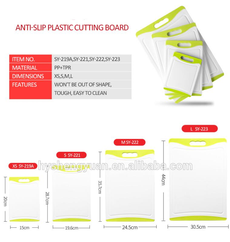2018 hot sale plastic anti-slip silicone Classified used chopping cutting board wholesale