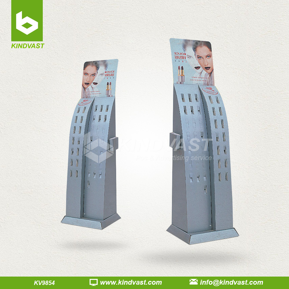 cardboard floor stand cosmetics display for lipstick retail