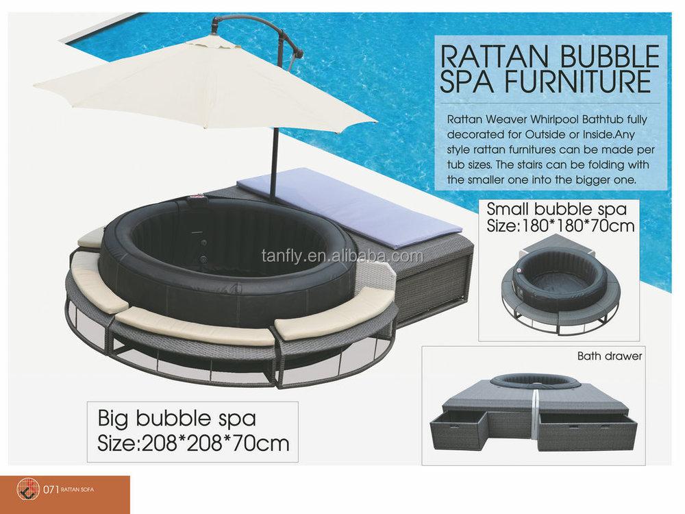 Nuovo design polyrattan mobili per bolla spa vasca for Mobili spa