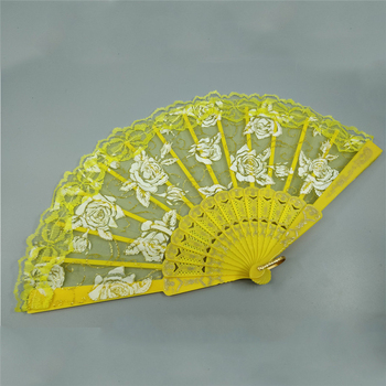 Chinese Style Rose Lace Plastic Music Dance Fan Rose Print Antique Women Lace Hand Fan