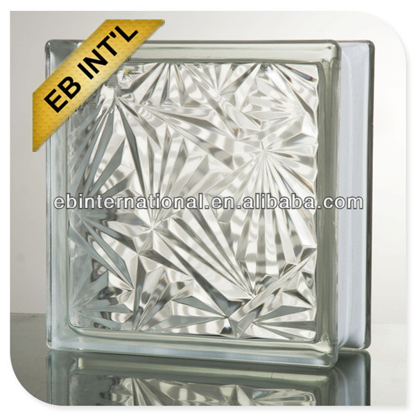 eb brand Glass Block/ 190*190*80mm clearice flower glass block
