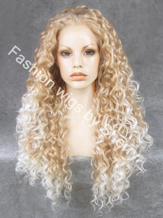 New Fashion Ombre Highlight Deep Curly Synthetic Lace