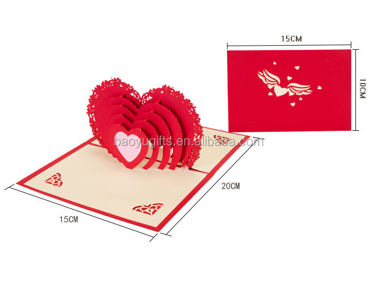 High Quality Paper Material Happy Wedding Day Card Greeting CardValentine 3D