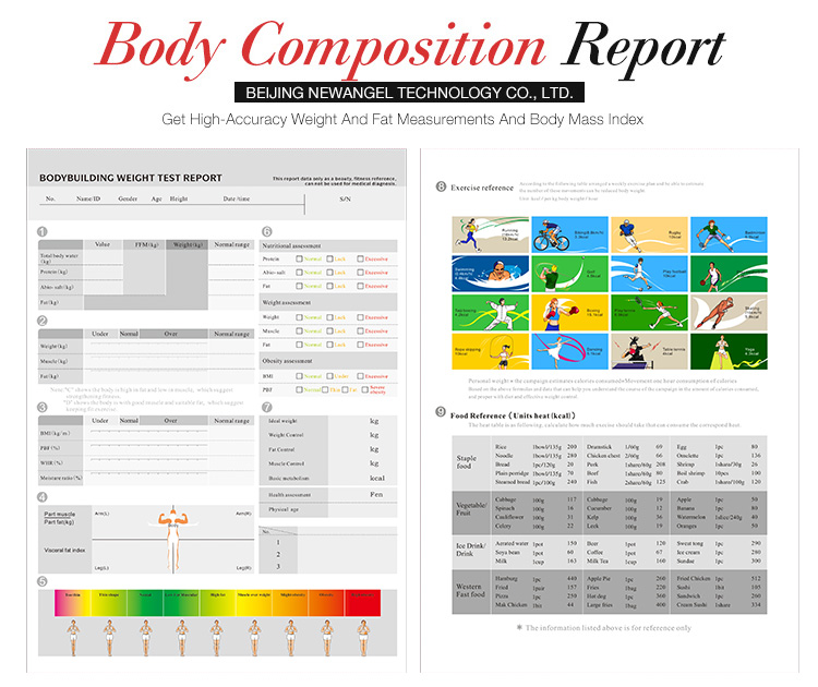 Cuerpo Humano Analizador de Composición del cuerpo profesional Analizador de grasa con impresora