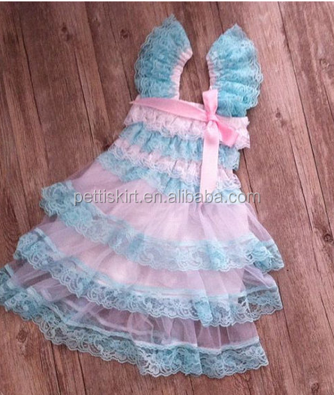 Boutique baby girl lace dress petti dress lovely pink and blue flower girls party dresses boutique clothing