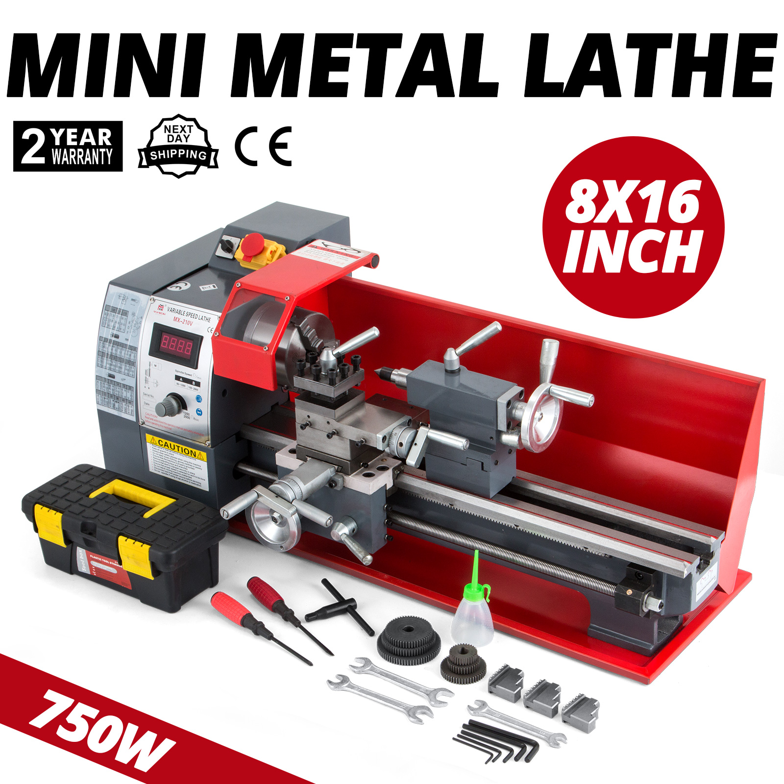 Fast Dealivery Mini High Precision Bench Top Digital Variable Speed Metal Gears Metal Lathe
