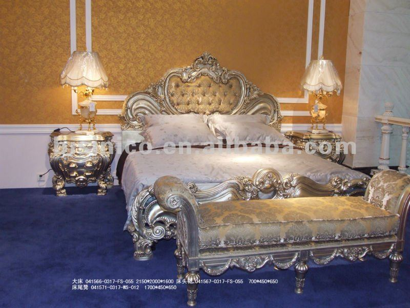 Luxury classic bedroom set,european classic bedroom set,wood carving silver plated bed(B50661)