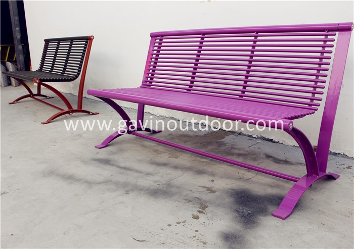 Powder Coated Steel Patio Bench Metal Park Bench Parts