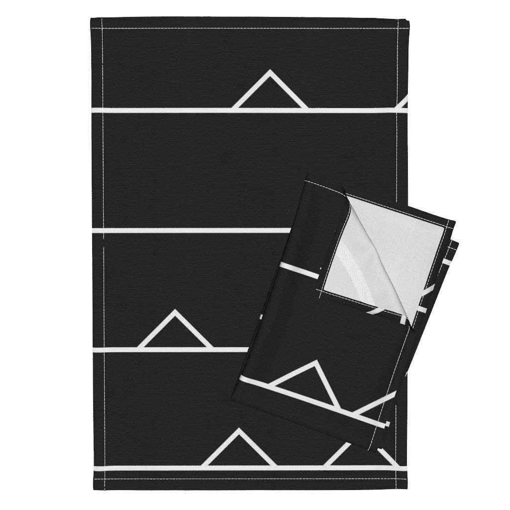 Sewing Notions Notches Notch Sewing Black And White Triangle Sewing Pattern Mod Modern Geometric Tea Towels Pattern Of A Pattern - 02 by Friztin Set of 2 Linen Cotton Tea Towels