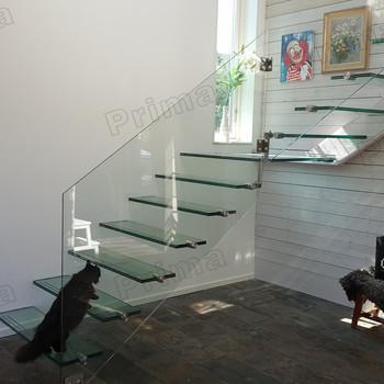Straight Mild Steel Gl Modern Floating Staircase Prefab Stair Indoor