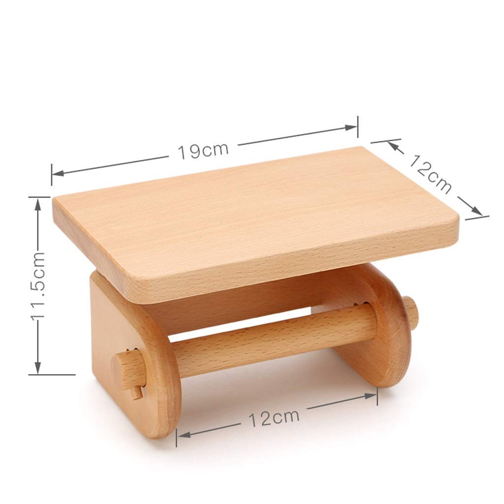 LE fu yan Toilet Paper Holder Solid Wood Bathroom Roll Holder Wooden Creative Tissue Box Hand Paper Box Wall Mount Rack Paper Holder Wall Mount (Color : A)